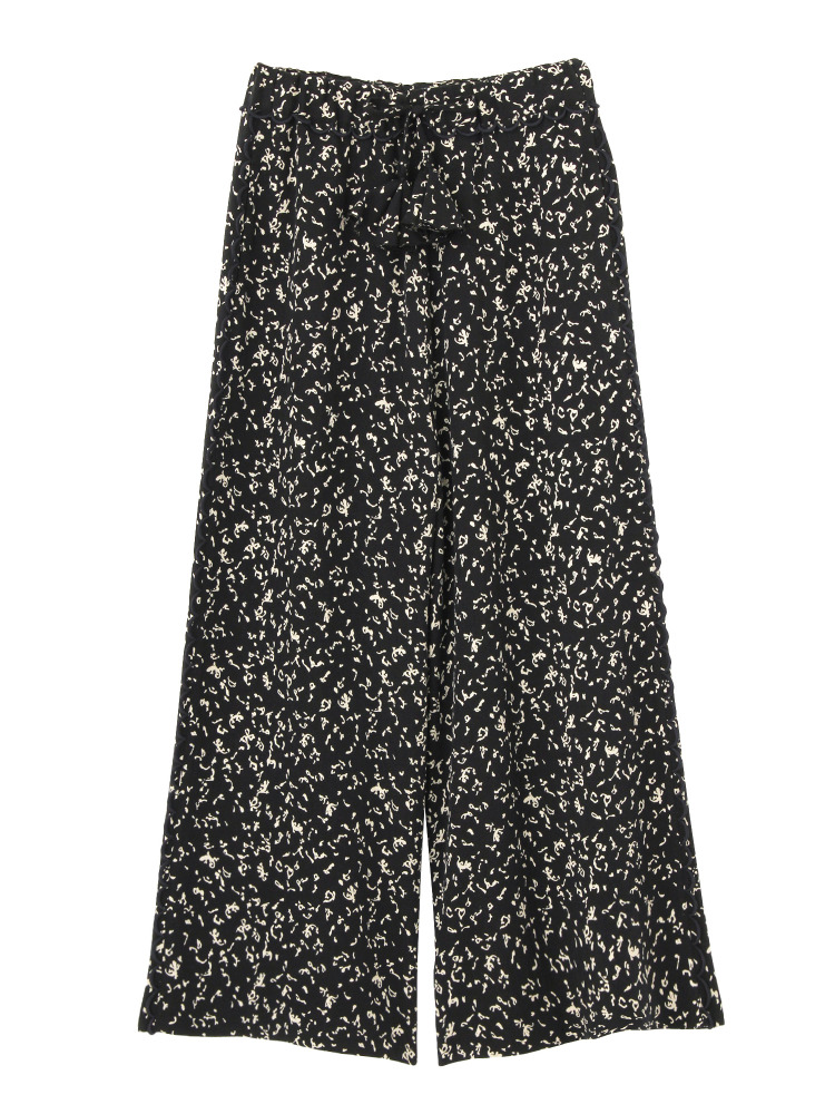 LIZARD PATTERN LACE-TRIMMED WIDE TROUSERS(ブラック-F)