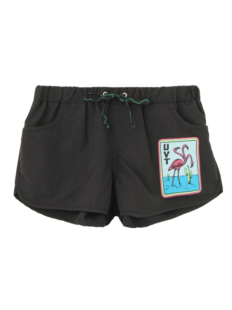 【4月下旬配送予定】THREE HEADS FLAMINGO BOARD SHORTS(ブラック-F)
