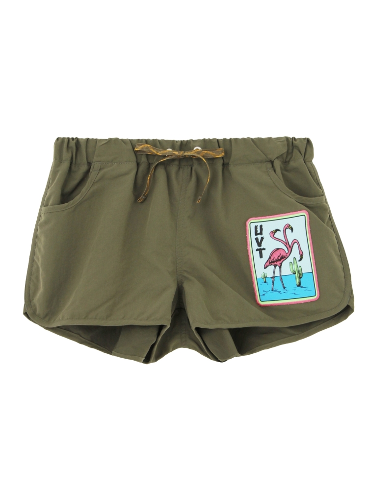 【4月下旬配送予定】THREE HEADS FLAMINGO BOARD SHORTS(カーキ-F)