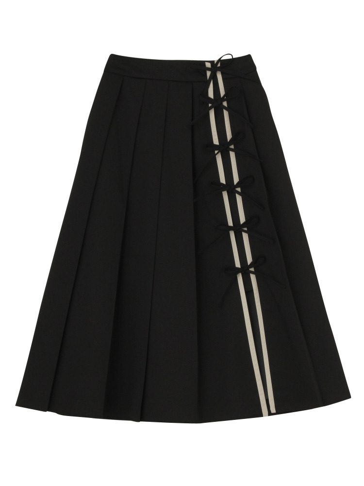 RIBBON PLEATED SKIRT(ブラック-S)
