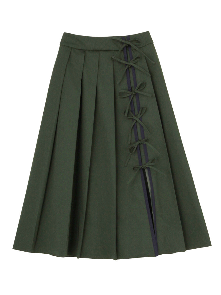 RIBBON PLEATED SKIRT(グリーン-S)