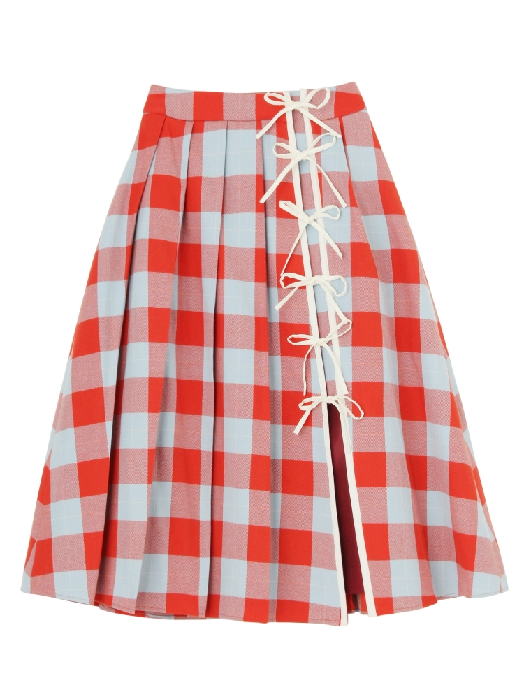 CASA VICENS PLAID SKIRT(オレンジ-S)