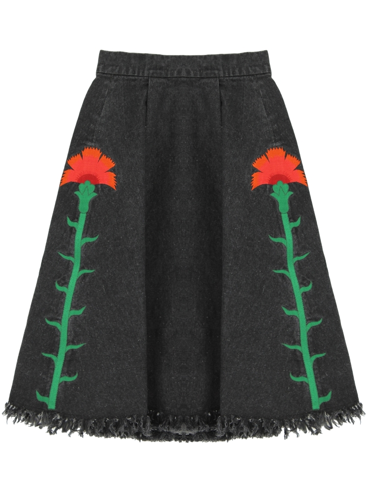 CARNATION EMBROIDERED DENIM SKIRT(ブラック-F)