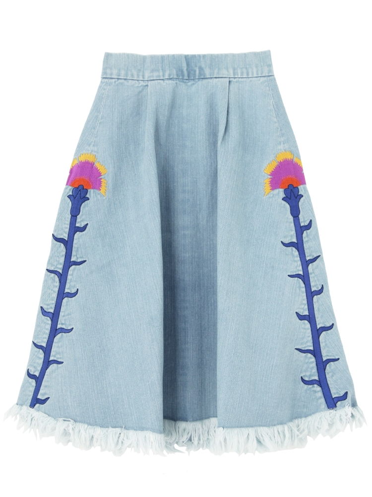 CARNATION EMBROIDERED DENIM SKIRT(スカイブルー-F)