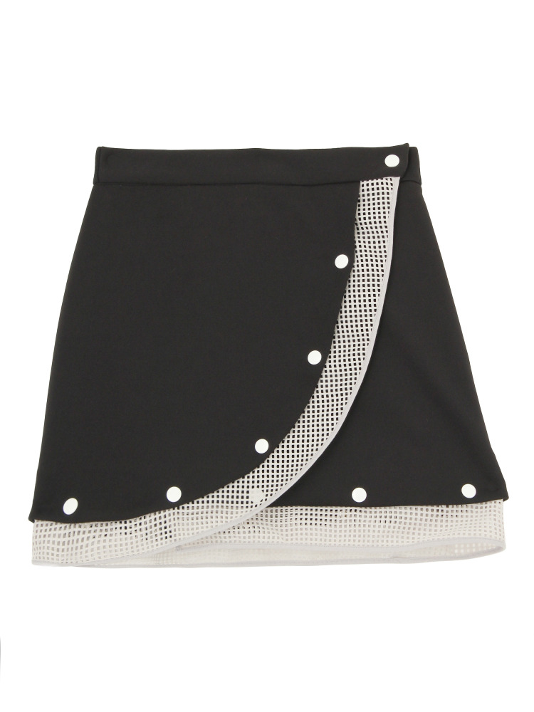 MESH DETAIL MINI SKIRT(ブラック-F)