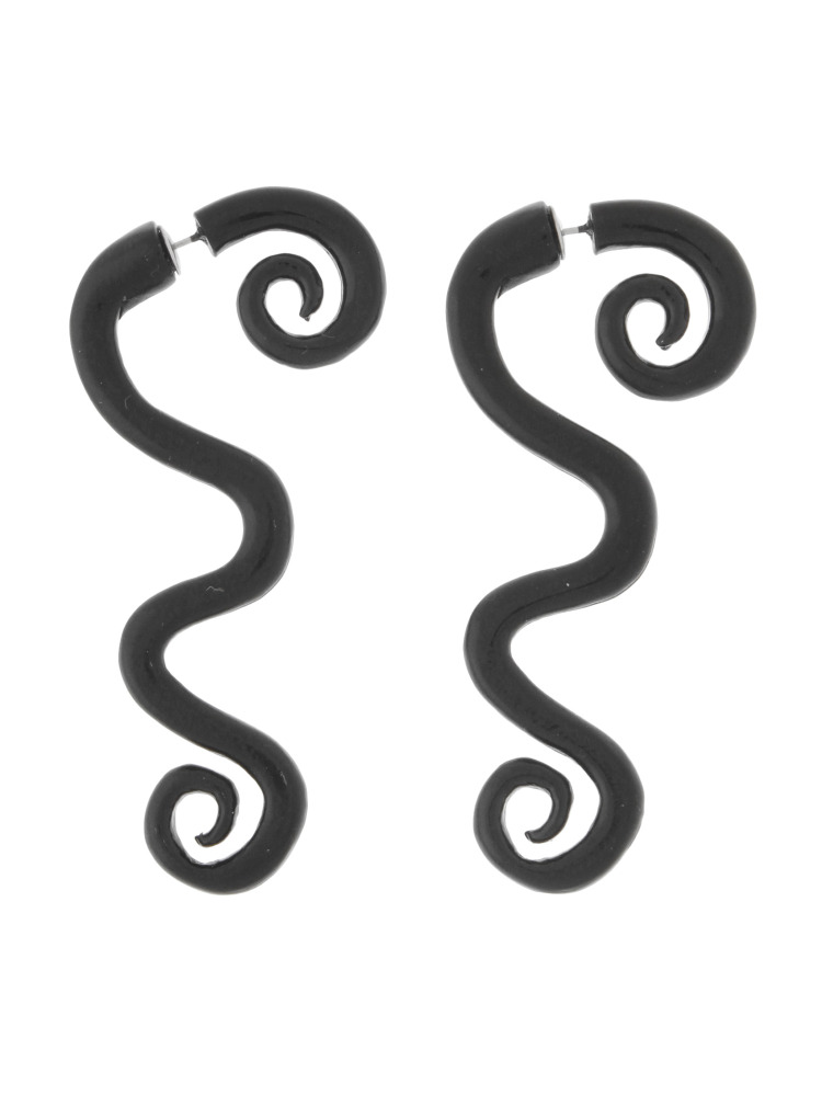 CURLY HAIR EARRINGS(ブラック-F)