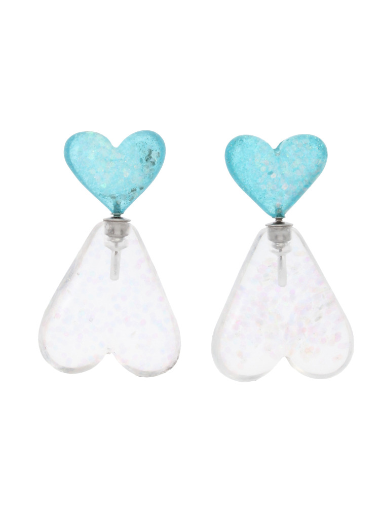 W HEARTS EARRINGS(スカイブルー-F)