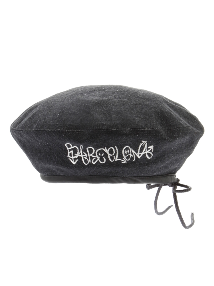 BARCELONA EMBROIDERED BERET(ブラック-F)