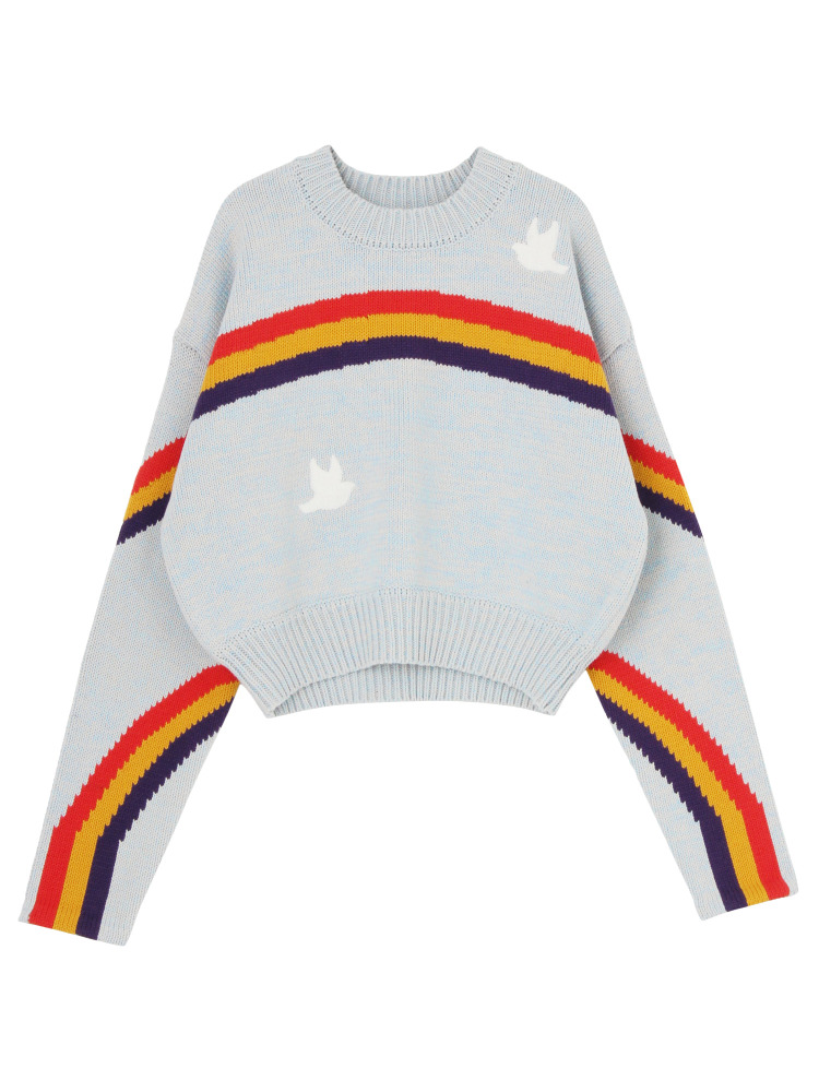 DOUBLE RAINBOW SWEATER SHORT(スカイブルー-F)