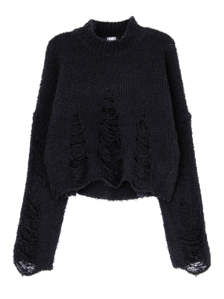 SAGURADA FAMILIA RIPPED SWEATER(ブラック-F)