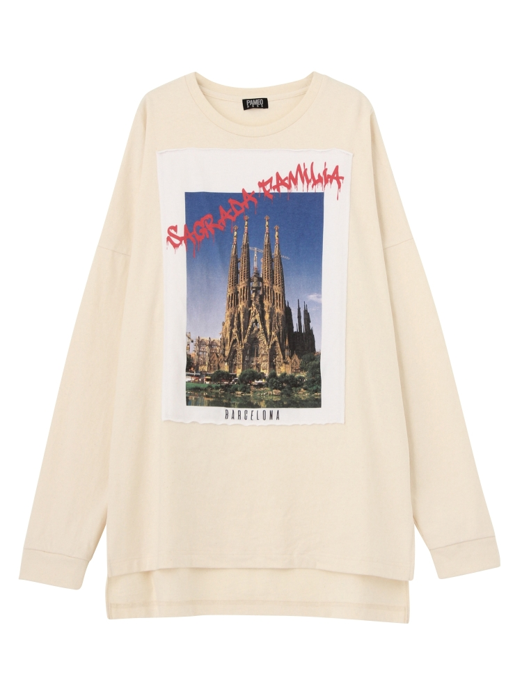 【1月中~下旬配送予定】SAGRADA FAMILIA POSTCARD LONG T-SHIRTS(ホワイト-F)