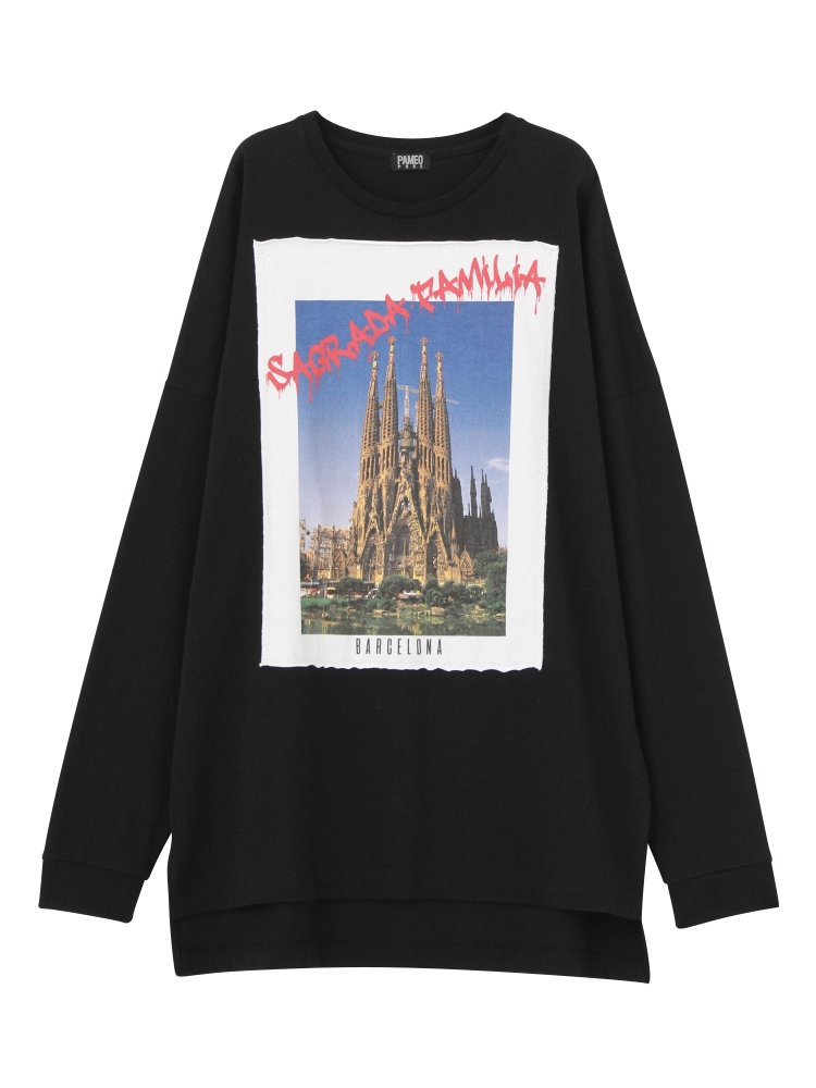 【1月中~下旬配送予定】SAGRADA FAMILIA POSTCARD LONG T-SHIRTS(ブラック-F)