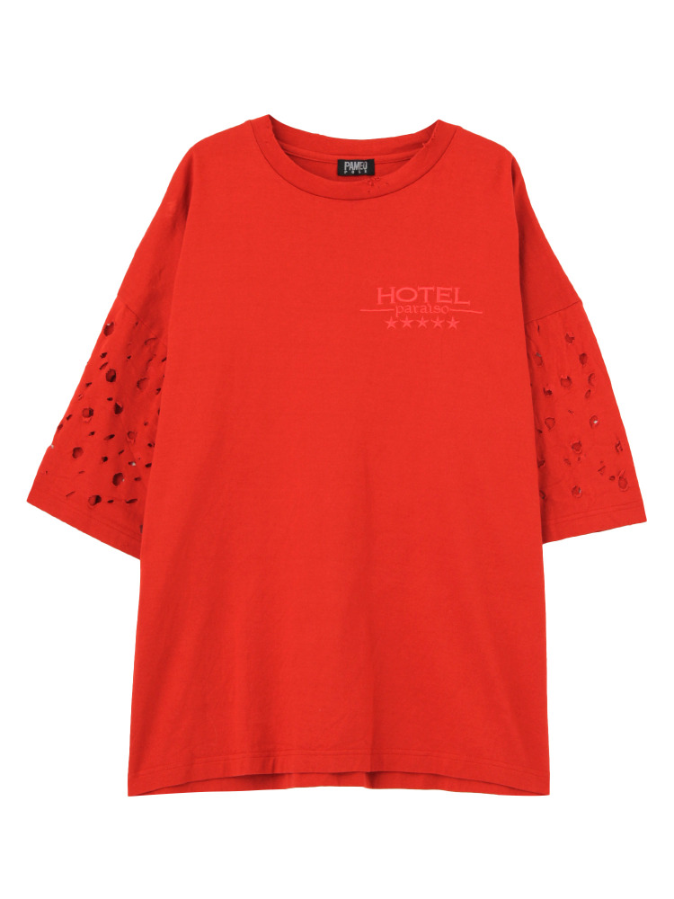 HOTEL PARAISO RIPPED T-SHIRT(レッド-F)