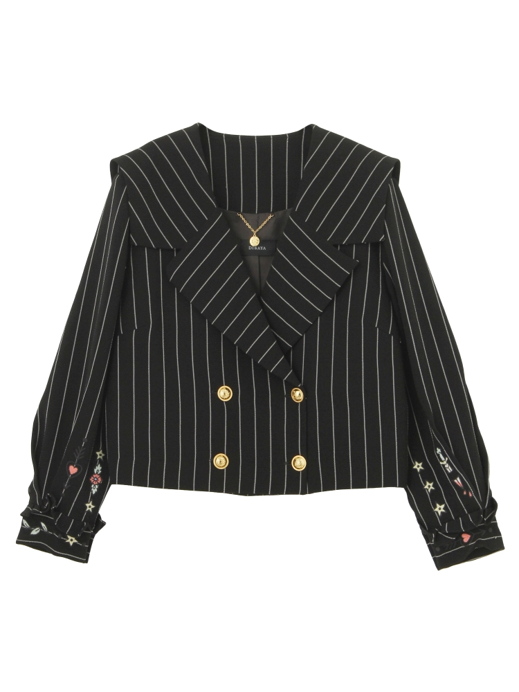 【Disaya】MEMOIREBEL STRIPE JACKET(ブラック-8)