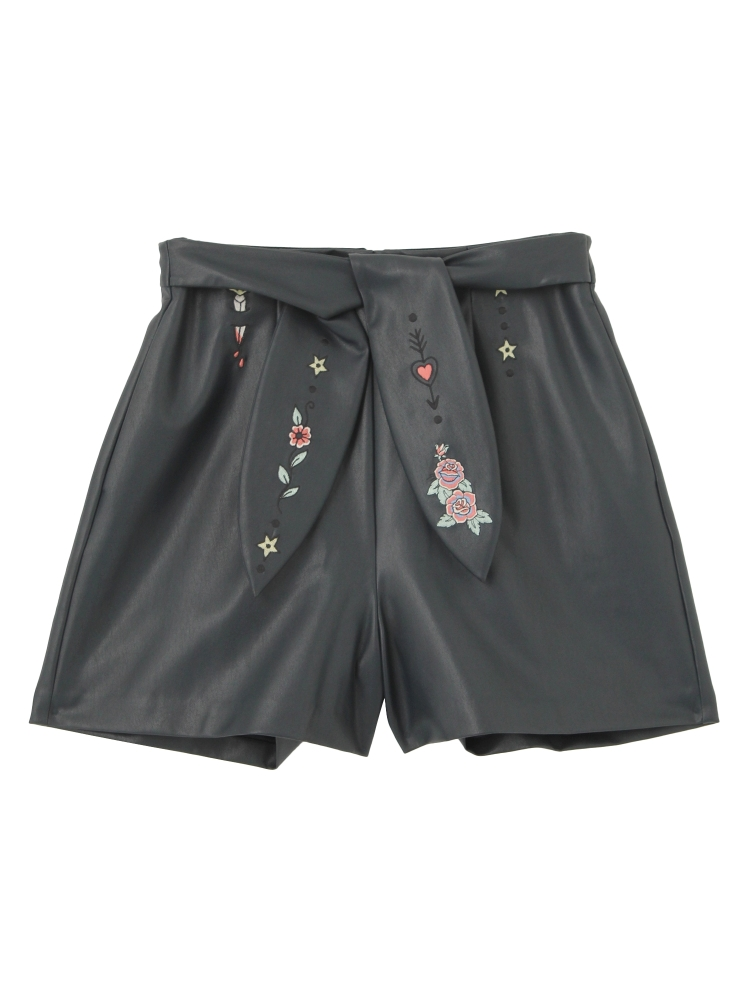 【Disaya】MEMOIREBEL FAUX LEATHER SHORTS(ネイビー-8)