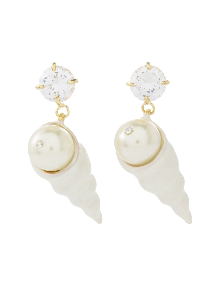 【77th】Spiral Shell Earrings(ホワイト-F)