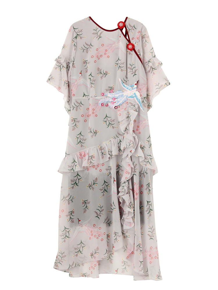 【KLOSET】Flower bird frill dress(グレー-F)