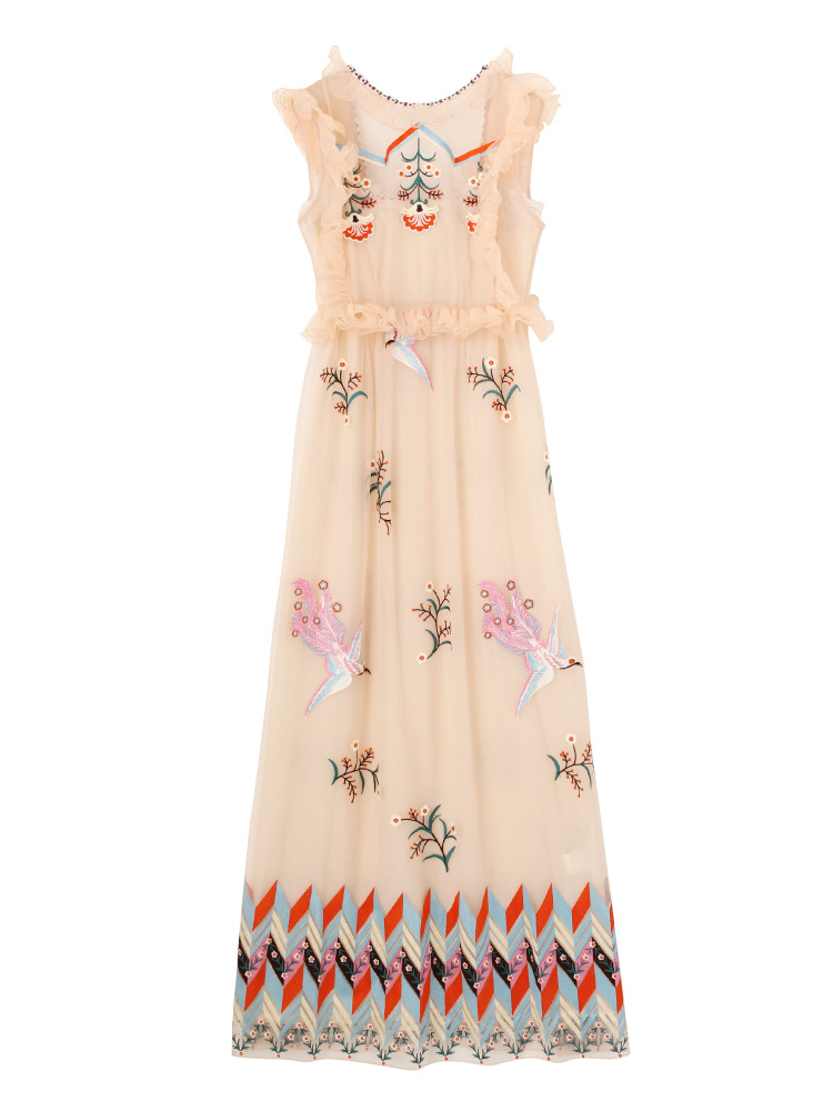 【KLOSET】Embroidery frill long dress(ピンク-F)