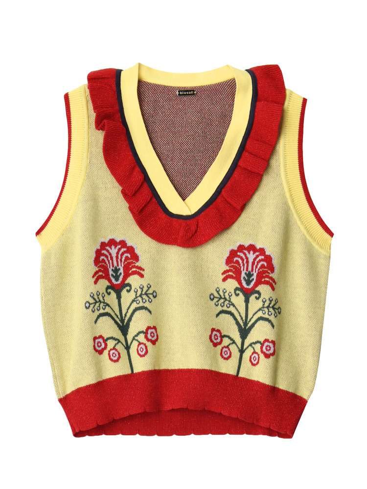 【KLOSET】Flower knit vest(イエロー-F)
