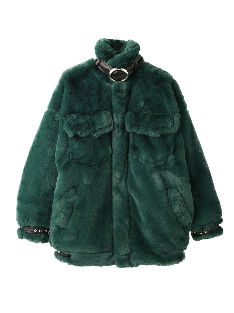 【先行予約】BELTED ECO FUR JACKET(グリーン-F)