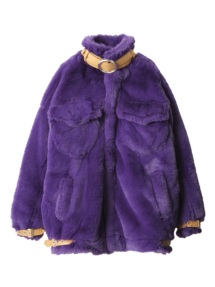 【先行予約】BELTED ECO FUR JACKET(パープル-F)