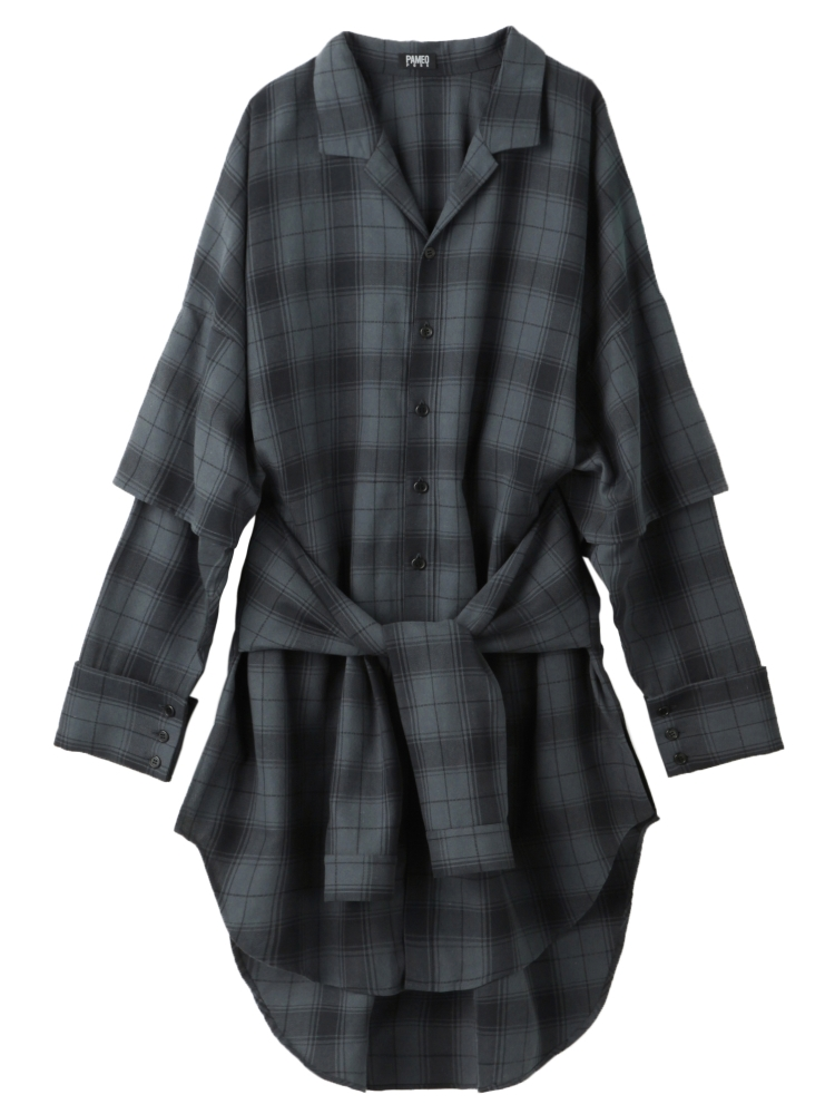 【秋新作】THREE SISTERS PLAID SHIRT COAT(ブラック-F)
