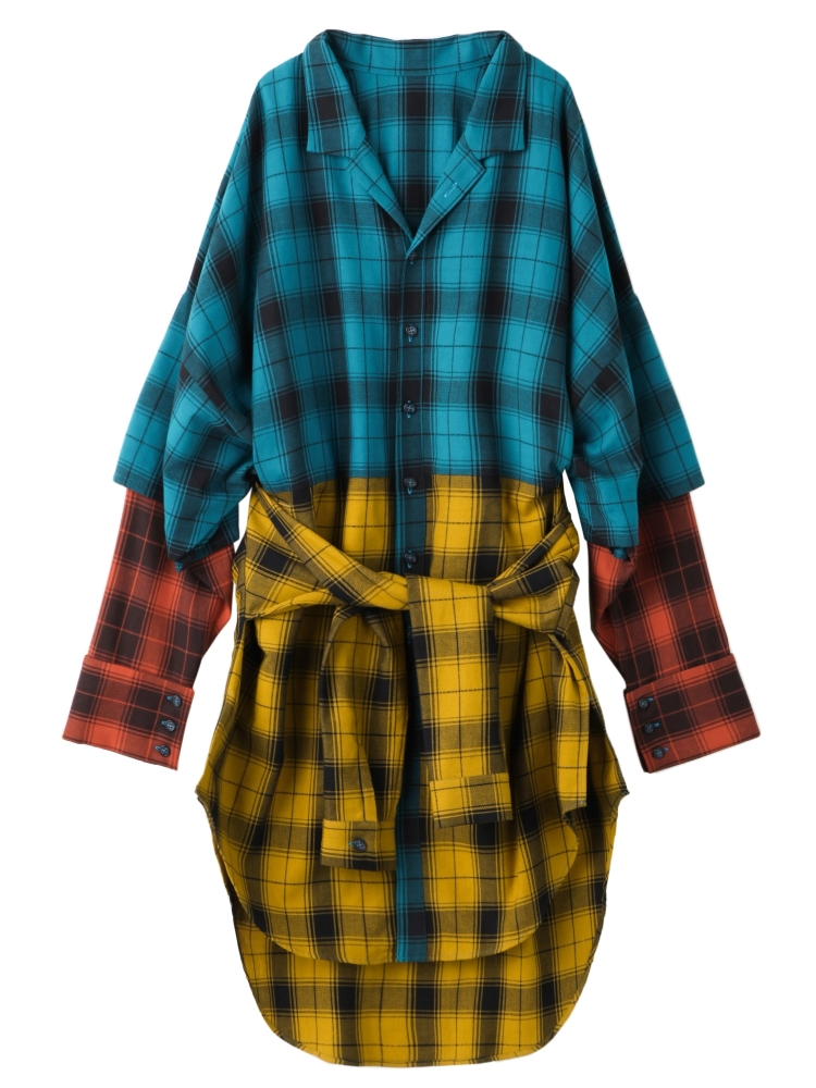 【秋新作】THREE SISTERS PLAID SHIRT COAT(ミックス-F)