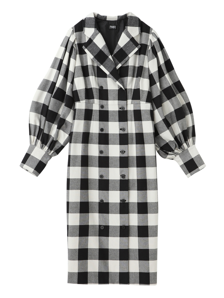 【先行予約】BUFFALO PLAID COAT-DRESS(ホワイト-S)