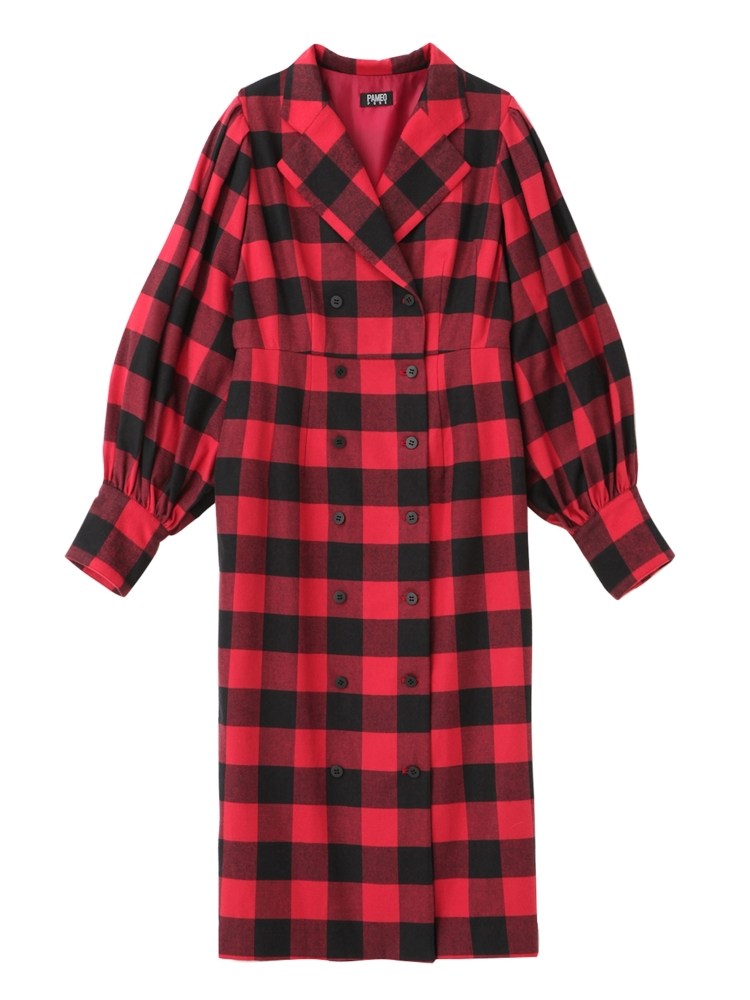 【先行予約】BUFFALO PLAID COAT-DRESS(レッド-S)