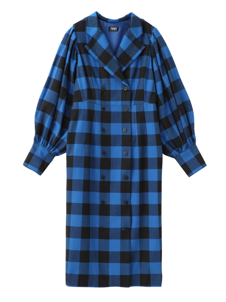 【先行予約】BUFFALO PLAID COAT-DRESS(ブルー-S)