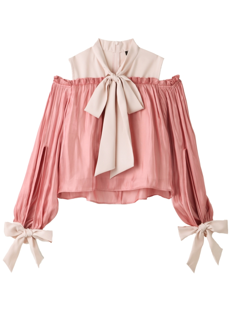 【秋新作】BOW COLLAR SATIN TOP(ピンク-F)