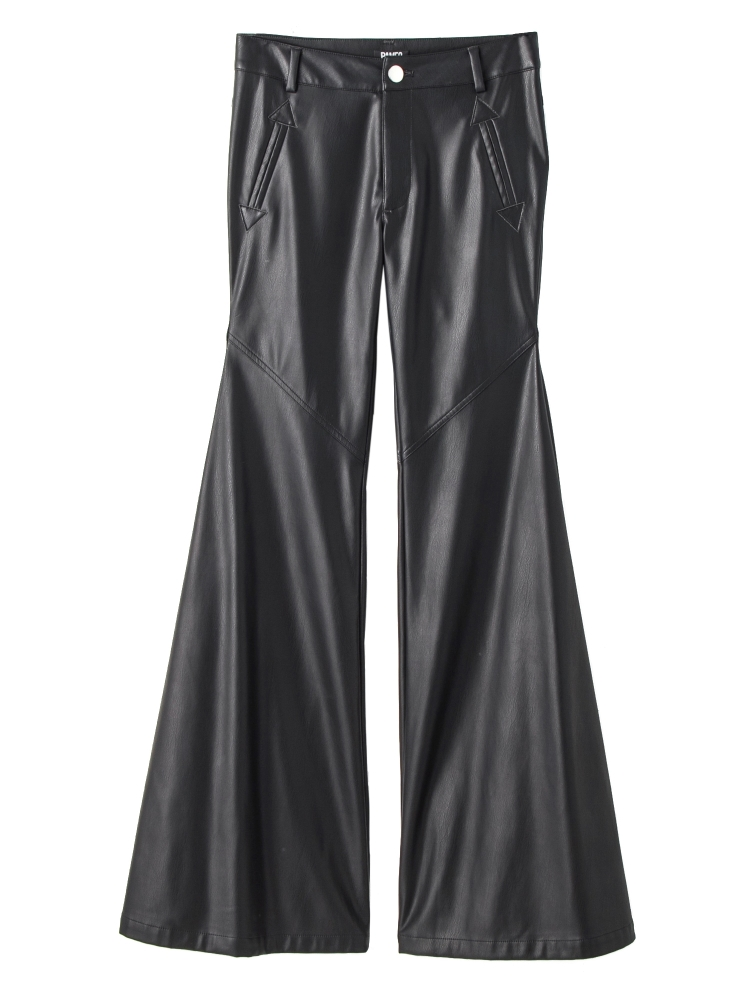 【秋新作】FAKE LEATHER BELL BOTTOMS(ブラック-S)