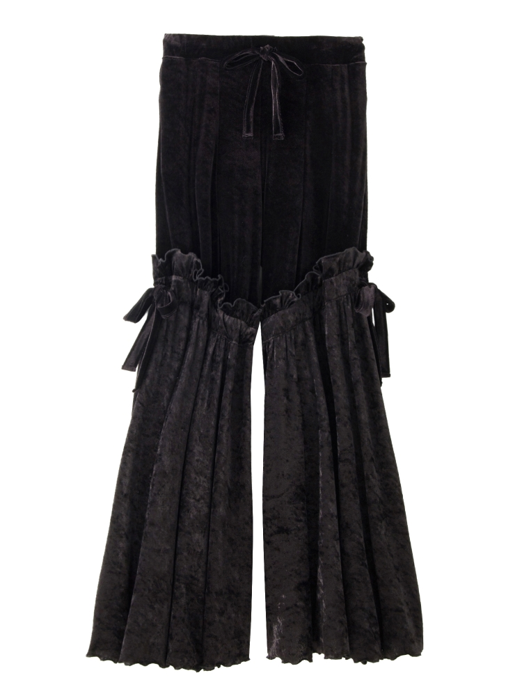 【9月新作】VELOURS RUFFLE WIDE TROUSERS(ブラック-F)