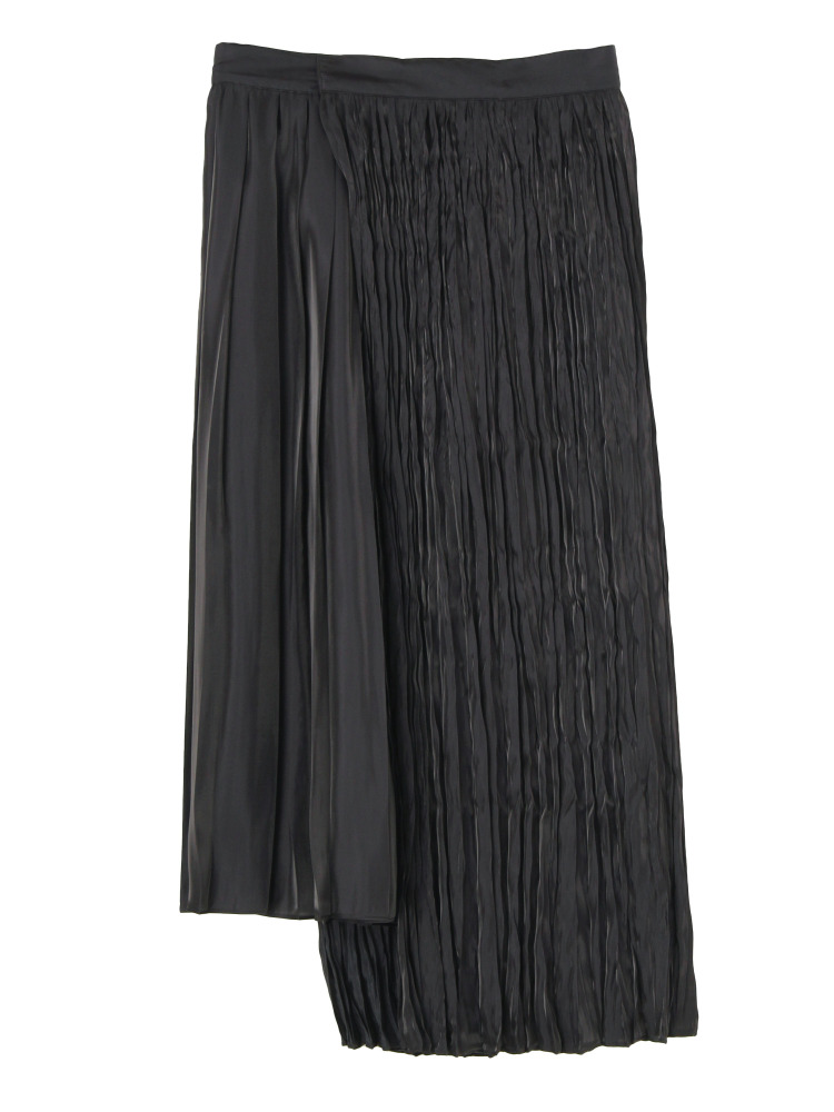 【秋新作】PLEATED GLOSSY SATIN SKIRT(ブラック-S)
