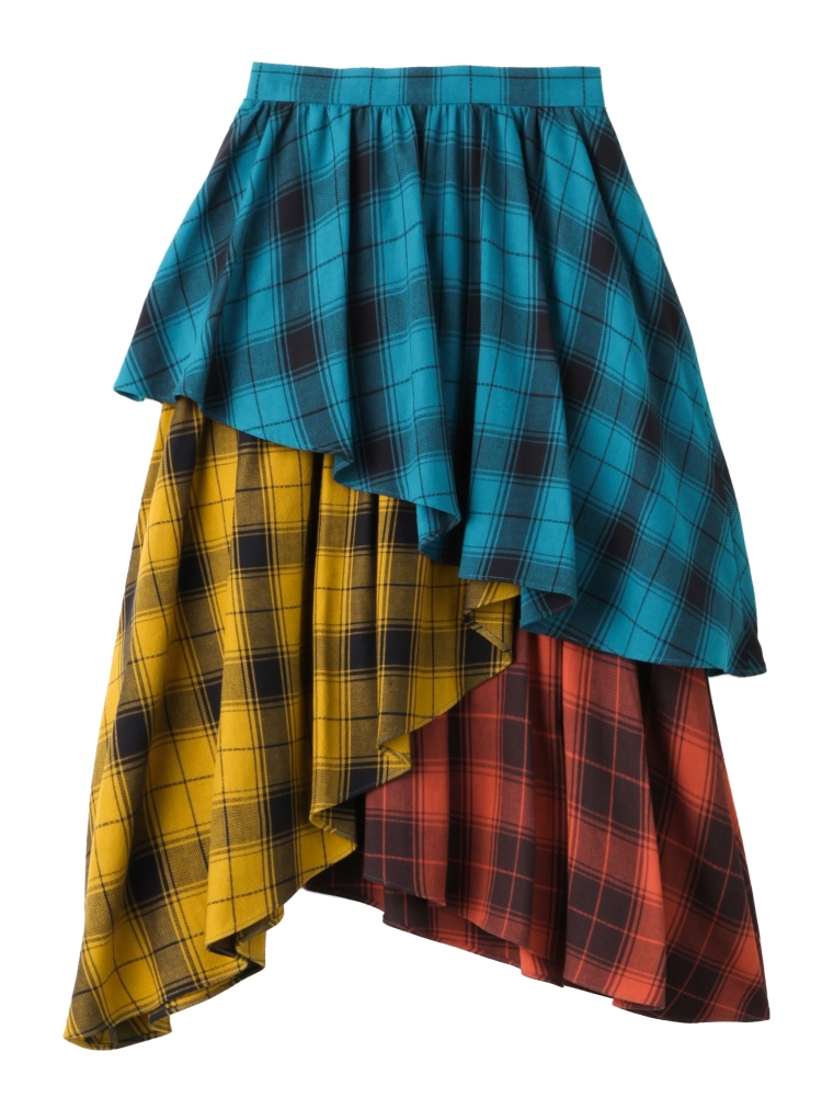 【秋新作】THREE SISTERS PLAID TIERED SKIRT(ミックス-S)