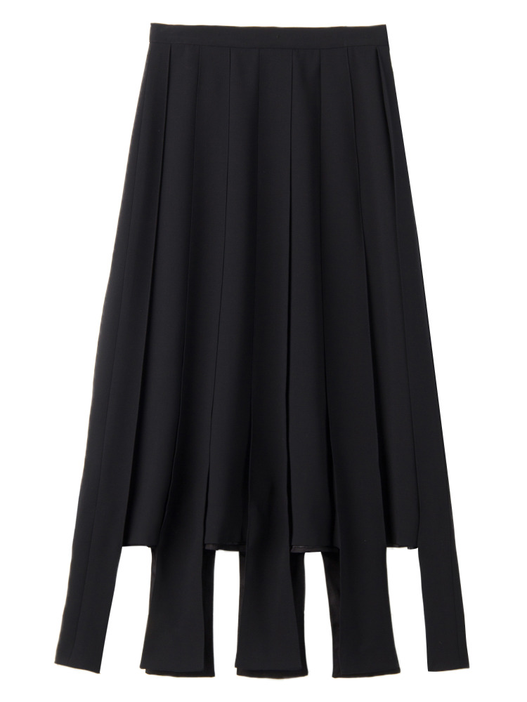 【秋新作】PARALLEL LINE PLEATED SKIRT(ブラック-S)