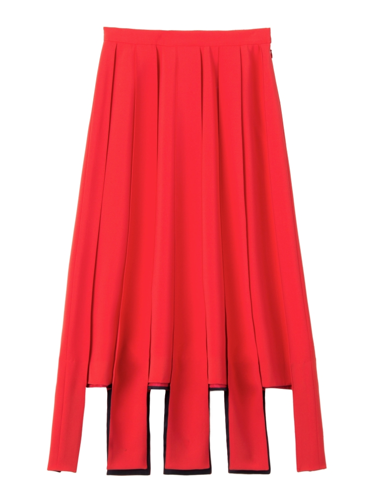 【秋新作】PARALLEL LINE PLEATED SKIRT(レッド-S)