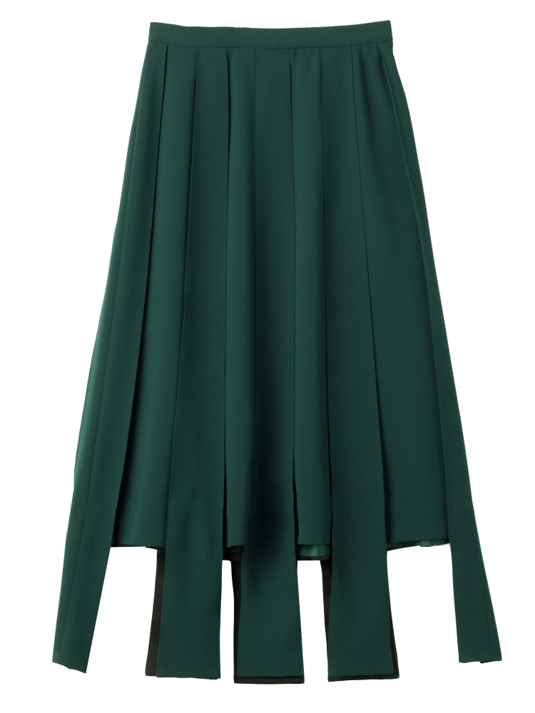 【秋新作】PARALLEL LINE PLEATED SKIRT(グリーン-S)