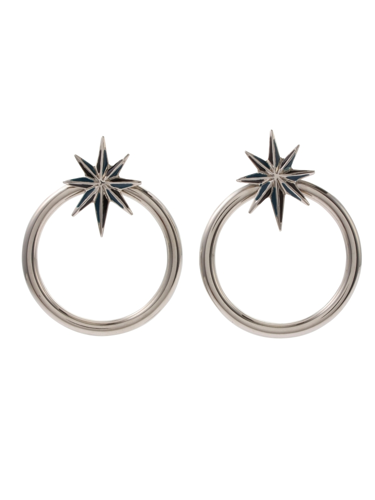 【秋新作】NUIT STAR EARRINGS SILVER(グリーン-F)