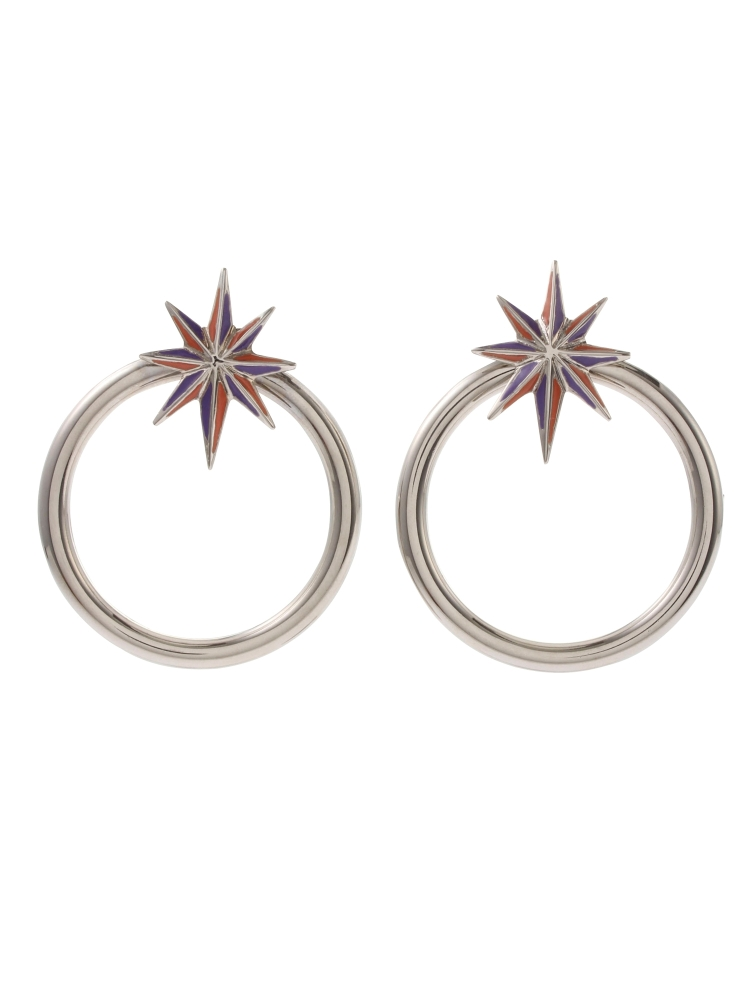 【秋新作】NUIT STAR EARRINGS SILVER(パープル-F)