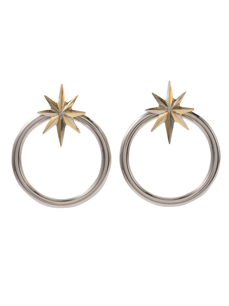 【秋新作】NUIT STAR EARRINGS SILVER(シルバー-F)
