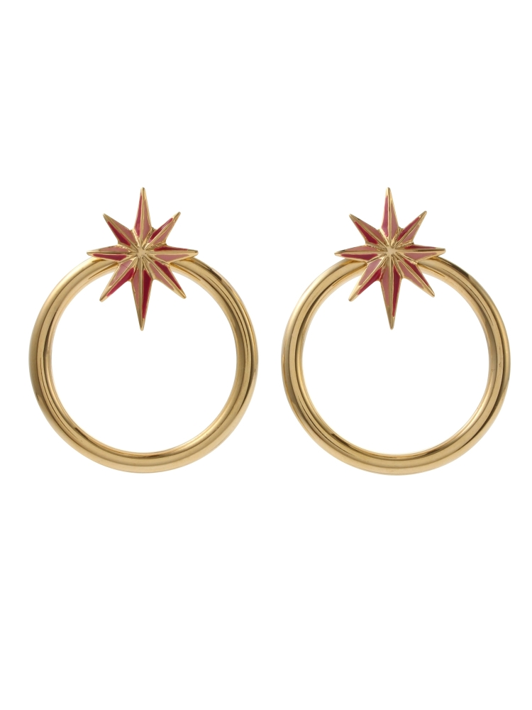 NUIT STAR EARRINGS GOLD(ピンク-F)