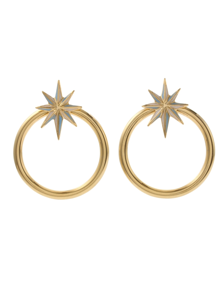 【秋新作】NUIT STAR EARRINGS GOLD(スカイブルー-F)