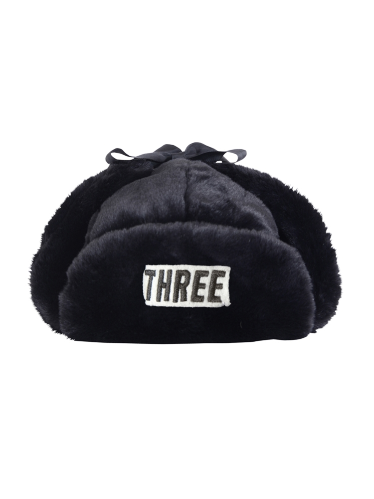"""THREE""FAKE FUR FLIGHT CAP(ブラック-F)"