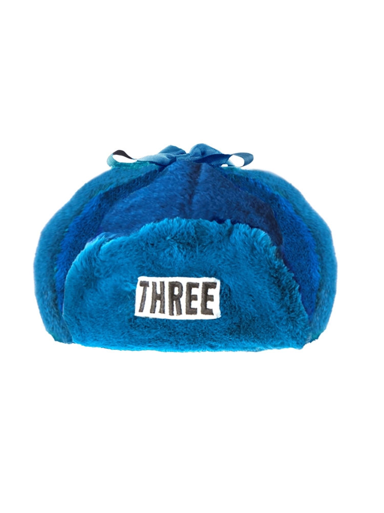 "【9月新作】""THREE""FAKE FUR FLIGHT CAP(ブルー-F)"