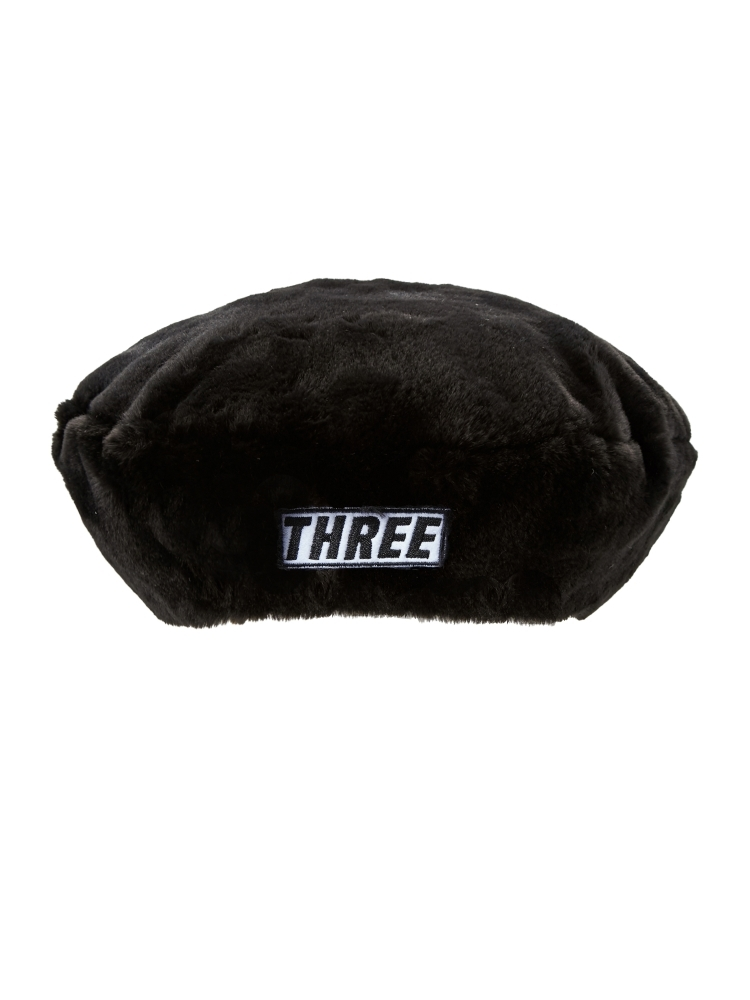 "【WEB先行販売】""THREE""FAKE FUR BERET(ブラック-F)"