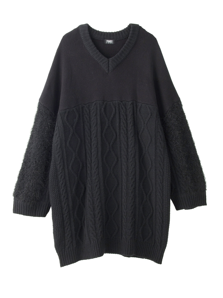 【WEB先行予約】SWICHING V-NECK SWEATER(ブラック-F)