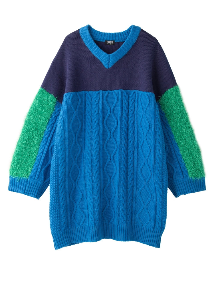 【WEB先行予約】SWICHING V-NECK SWEATER(ブルー-F)