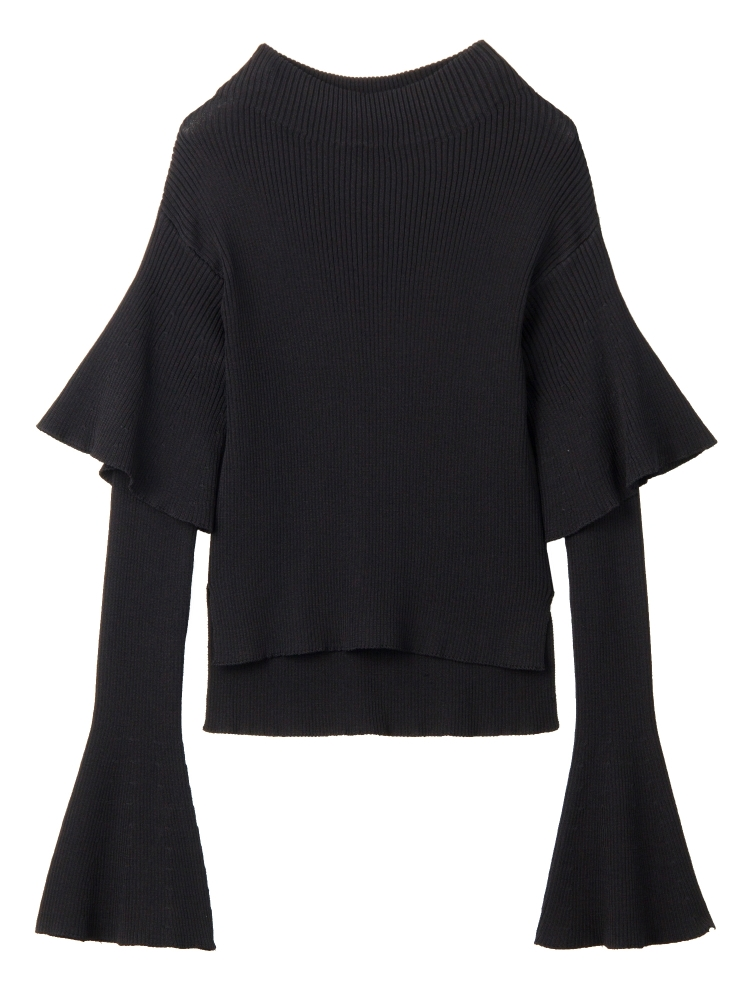 【9月新作】DOUBLE BELL SLEEVE KNIT TOP(ブラック-F)