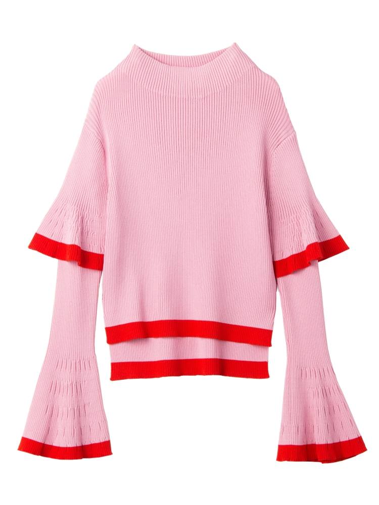 【9月新作】DOUBLE BELL SLEEVE KNIT TOP(ピンク-F)